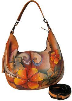 Tribal Bloom Expandable Slouch Hobo - handpainted Anuschka bag