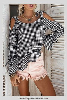 $18.00 Open Shoulder Bowknot Checkered Shirts. Luvyle is having a huge sale on many classy chic tops, their stylish spring/summer collection is filled with trendy tops perfect for any occasion. These are perfect for a capsule wardrobe, party, date night, or a casual day. They have camisoles, sleeveless tops, t-shirts, loose blouses, dressy tops, cute tops and more. #classy, #classytops, #trendy, #trendytops, #camisoles, #style, #fashion, #shopnow, #affiliate, #teens
