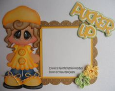 Premade Paper Pieced Girl Pucker Up Set  for Scrapbook Pages by Babs