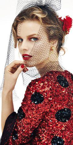 Eva Herzigova in Dolce & Gabbana, ELLE Czechoslovakia, December 2014