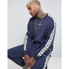 c47eb72a90e8b8 adidas Originals - Adicolor TNT Tape - Blaues Sweatshirt mit  Rundhalsausschnitt