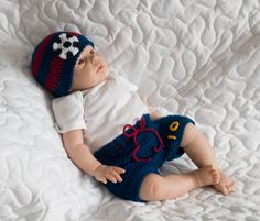 Baby Boys Soccer HAT & SHORTS Football Crocheted Navy Blue Maroon Red Barcelona World Flag Colors Players Number Preemie Newborn 0-3 Months by Grandmabilt on Etsy
