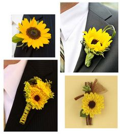 Mini sunflower-like yellow flowers look amazing against a grey suit!