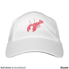 Red Lobster Cap  Available on many more products! Just type in the name of the design in the search bar on my Zazzle products page to see them all!  #lobster #red #swim #ocean #hat #cap #sun #shine #creature #fish #fishing #sea #swimming #under #the #water #floor #illustration #design #cartoon #drawing #cool #hip #chic #modern #style #contemporary #art #zazzle #buy #sale #for