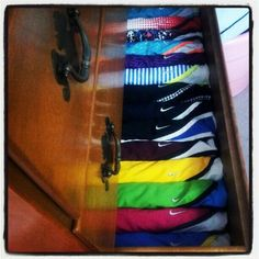 good way to store your shorts!  I am doing this from now on in the boys room.