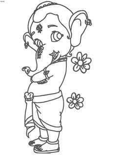 Bal Ganesh Coloring Page - Kids Portal For Parents Ganesha Drawing, Lord Ganesha Paintings, Ganesha Art, Ganesh Tattoo, Krishna Painting, Hanuman Images, Ganesh Images, Disney Drawings Sketches, Cartoon Drawings