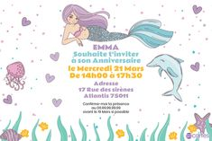 Ma copine la sirène - Invitation anniversaire filles | 123cartes Lily, Bullet Journal, Invitations, Beautiful Mermaid, Violet Hair, Daughters, Lilies, Save The Date Invitations, Shower Invitation
