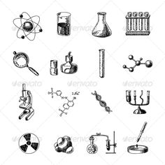Scientific chemistry laboratory equipment of retort glass holder dna symbols doodle sketch icons set isolated vector illustration.