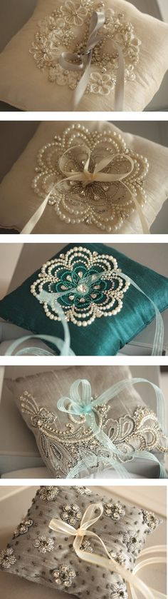 Idea for pillows and cushions - just love the pretty beadwork! :)