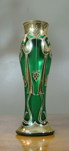 Vintage Bohemian Satin Green Art Nouveau Glass Vase Hand Painted Gold
