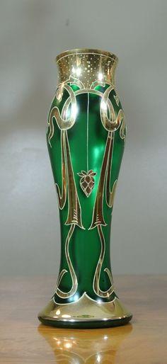 Vintage Bohemian Satin Green Art Nouveau Glass Vase Hand Painted Gold