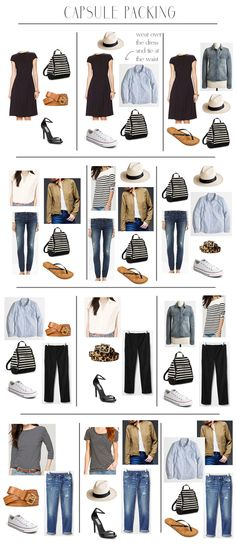 Create the Perfect Travel Capsule Wardrobe - Easy travel packing - The great thing about capsule packing is that all your clothes can multi-task and it really simplifies the whole process especially with regard to your shoes Mode Outfits, Casual Outfits, Skirt Outfits, Casual Dresses, Casual Mode, Look Fashion, Womens Fashion, Preppy Fashion, Travel Fashion Girls