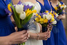 Blue Yellow Spring Wedding Flowers Bouquets  http://www.fullerphotographyweddings.co.uk/