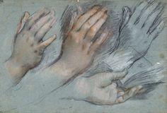 Federico Barocci, 'Studies for the Virgin's Hands'; Charcoal with red and pink pastel heightened with white on blue paper. 27.3 x 39.4 cm; Staatliche Museen zu Berlin, Kupferstichkabinett © Volker-H. Schneider