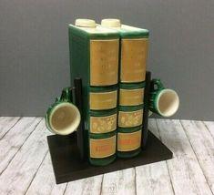 Schnapsflaschen Keramik Flaschen und Becher Set Buchform Schnapsbecher Halterung  | eBay