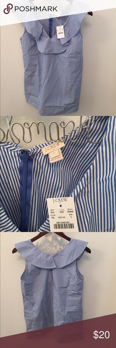 🆕NWT J.Crew Factory V-Neck Ruffle Size 0 Top This BRAND new with tags J.Crew Factory blue and white stripe size 0 ruffle blouse. This top pairs with any color skirt/shorts/pants. It has a hidden zipper closure at the back. It comes from a smoke and pet free home and is ready to wear right out of the box. 🌴 J. Crew Factory Tops Blouses