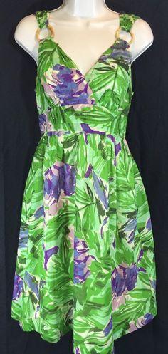 Tweeds Summer Dress 100 Cotton Vibrant Floral Lined Green Purple Wood Rings 4 | eBay