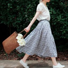 Simple Outfit / Casual / Fashion / Floral Skirt / Blouse / Sneakers /