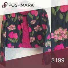 Vintage 1970s embroidered silk tulip jacket XS Vintage 1970s embroidered silk tulip jacket XS Vintage Jackets & Coats