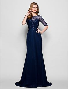 A-line Plus Sizes / Petite Mother of the Bride Dress - Dark Navy Sweep/Brush Train Half Sleeve Chiffon / Tulle – USD $ 132.99