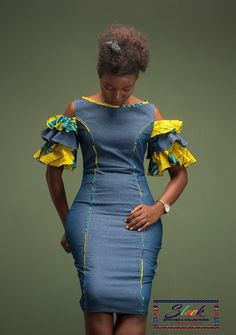Fitting Ankara jeans yellow dress