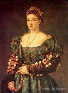Titian (Tiziano Vecellio) (Italien 1490-1576) - Portrait of a Girl in a Blue Dress 1536
