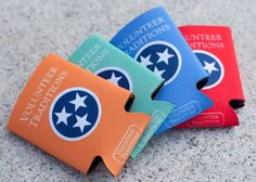 Full Color Tennessee Koozies/ Orange, Mint, Blue, and Red
