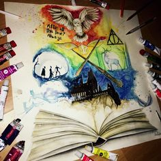 """433 Likes, 6 Comments - Jem Colored (@neon_rain__) on Instagram: """"Finished my Harry Potter drawing. #harrypotter #harrypotterowl #harrypotterworld…"""""""