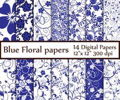 "Blue Floral digital paper: ""FLORAL PAPERS"" Floral backgrounds Blue Flower Paper Digital background invitation paper Decoupage floral paper"