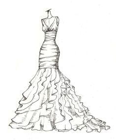 weddinng dress illustration great gift idea door dresssketch
