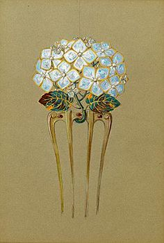 Eugène Grasset (1845 - 1917), design for a comb in the form of a hydrangea flower. Gouache, watercolour and gold over a pencil underdrawing, on light brown paper.