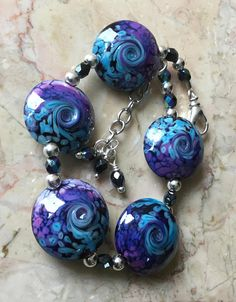 Lampwork Bracelet-Stunning SRA Lampwork Glass Beads-Purple and