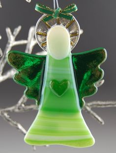 Green Fused Glass Angel Ornament with Heart
