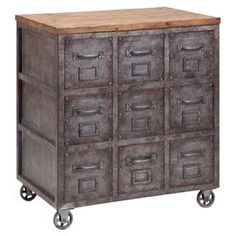 "Showcasing an industrial-inspired design and a wood top, this eye-catching chest is a perfect addition to your living room or parlor.  Product: ChestConstruction Material: Wood and metalDimensions: 29"" H x 26"" W x 18"" DCleaning and Care: Clean with a warm, damp cloth"