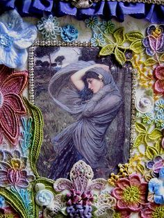 Fiber Art..What a great mix of Modern & Old forms of art...love the way the pre-raphelite picture has been incorporated in this!
