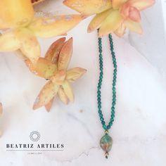 Beatriz Artiles Jewellery  Collar, turquesa, hematite y malaquita.