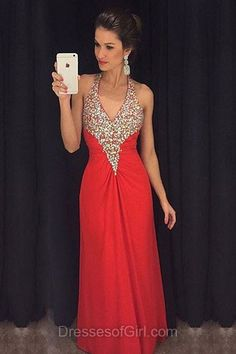 Halter Prom Dresses, Chiffon Prom Dress, Beaded Evening Dresses, Backless Party Dresses, Red Formal Dresses