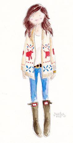 FAIR ISLE + HUNTER BOOTS I love joy cho watercolor illustrations