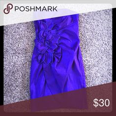 Purple Cocktail Dress Worn once , great condition, bright purple, flower detail Jessica McClintock Dresses Mini