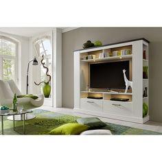 TV-Wand MONTREAL - Pinie weiß-Wenge - 189x166 cm