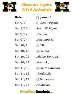 Printable Missouri Tigers Football Schedule 2016
