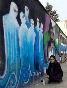 The graffiti work of 24 year old Shamsia Hassani; associate professor of Sculpture at Afghanistan's Kabul University, and founder of contemporary art collective, Roshd (which means development/growth) - Nice!