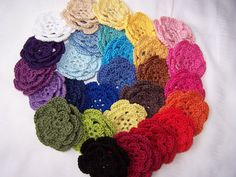 hand crocheted flowers 3 inch