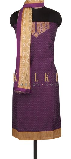 Buy this wine unstitched suit in embroidered placket only on Kalki