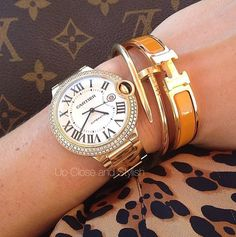 Up Close and Stylish malin bergfors Cartier 'Ballon bleu' (size large), Juste un Clou and Hermès bracelets.