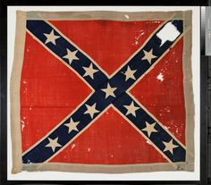 Battle Flag of the Sixth Regiment NC State Troops. This is a seventh bunting Army of Northern Virginia–pattern battle flag. They were issued from the Richmond Clothing Depot, starting in early 1865, without battle honors or unit designations. Because of its late issue, this flag probably remained in regimental hands for only a few weeks. Private Joseph Kimball, Company B, Second West Virginia Cavalry, captured this Sixth North Carolina flag at Sailors Creek, Virginia, on April 6, 1865.