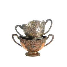 Pair of Ornate Tarnished Silver Sugar Bowls by OldRedHenVintage on Etsy