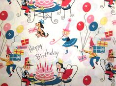 Vintage Wrapping Paper  Happy Birthday Kids by TillaHomestead