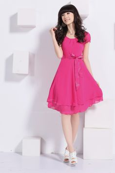 Simple Hot Pink Bridesmaid Dresses Cap Sleeves Chiffon for Party Cheap Dresses, Casual Dresses For Women, Day Dresses, Dress Casual, Prom Dresses, Pink Chiffon Dress, Silk Dress, Conservative Outfits, Pink Bridesmaid Dresses