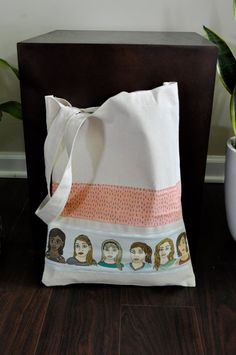 Canvas Tote Bag with Illustrated Ladies and Line by yayhooray, $20.00